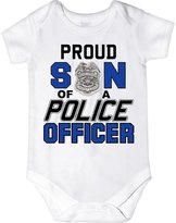 CarefreeTees Baby Boy's Proud Son of a Police Officer ( 6M )
