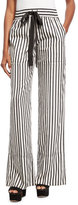 Derek Lam Striped Tie-Waist Silk Pajama Pants, Black/White