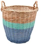 ROSE IN APRIL Ratatouille Basket - Sky Blue and Green, 36 cm in diameter