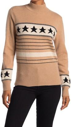 Magaschoni Star Stripe Mock Neck Cashmere Sweater