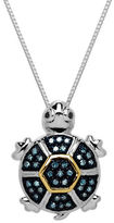 Lord & Taylor Sterling Silver and 14 Kt. Yellow Gold Diamond Turtle Pendant