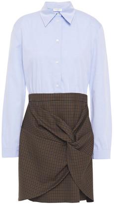 Sandro Twist-front Checked Twill And Cotton-poplin Mini Dress