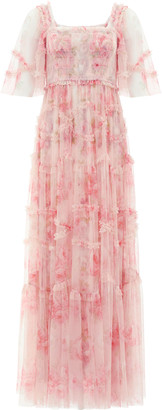 Needle & Thread Ruby Bloom Draped Tulle Maxi Dress