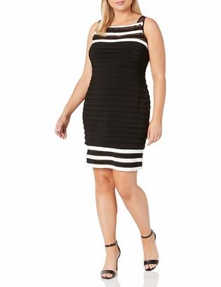 Adrianna Papell Women's Size Matte Jersey Colorblocked Sheath Dress Plus