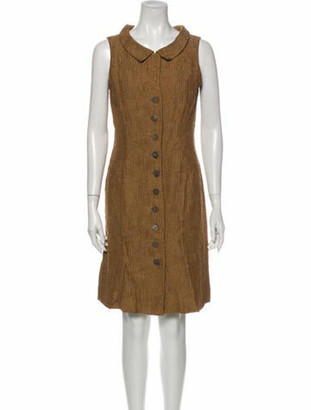 Oscar de la Renta V-Neck Knee-Length Dress Brown