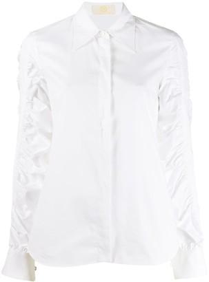 Sara Battaglia Ruched Sleeve Shirt