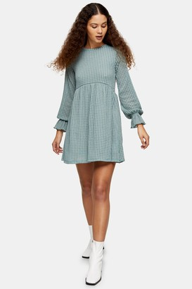 Topshop Sage Check Mesh Long Sleeve Mini Dress