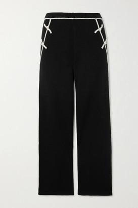 Madeleine Thompson Nave Two-tone Cashmere Straight-leg Track Pants - Black