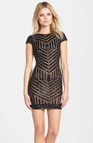 Dress the Population Women's 'Tabitha' Sequin Stripe Mesh Minidress