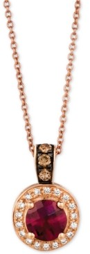 LeVian Le Vian Chocolatier Raspberry Rhodalite (3/4 ct. t.w.) & Diamond (1/6 ct. t.w.) Pendant Necklace in 14k Rose Gold