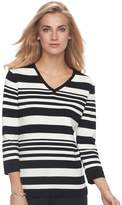 Croft & Barrow Women's V-Neck Jersey Sweater