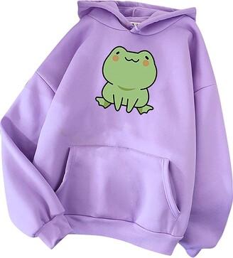 XCVBX Skateboarding Frog Hoodie Sweatshirts Women Fashion Casual Pullover Long Sleeve Cartoon Frog Printed Loose Blouse Tops Streetwear Spring Autumn Winter with Pocket