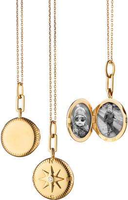 Monica Rich Kosann Round Travel Compass Diamond Locket Necklace