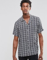 Asos Printed Shirt In Viscose With Revere Collar and Short Sleeves