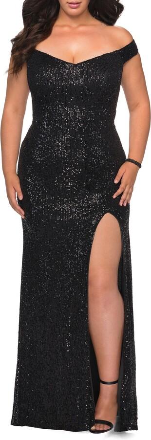 La Femme Sequin Off the Shoulder Gown