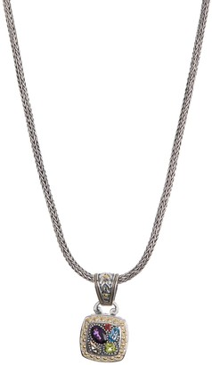 Effy Sterling Silver 18K Yellow Gold Amethyst Blue Topaz Citrine Garnet Peridot Pendant Necklace