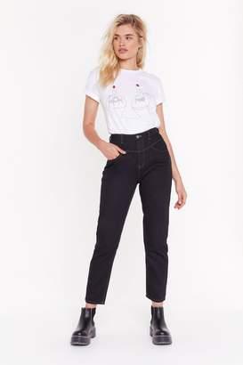 Nasty Gal Womens Get Stitch High-Waisted Mom Jeans - black - 10