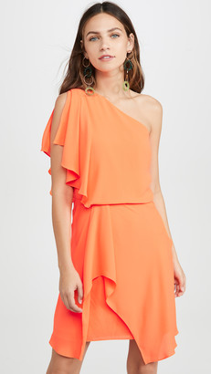 Halston Neon Orange One Shoulder Dress