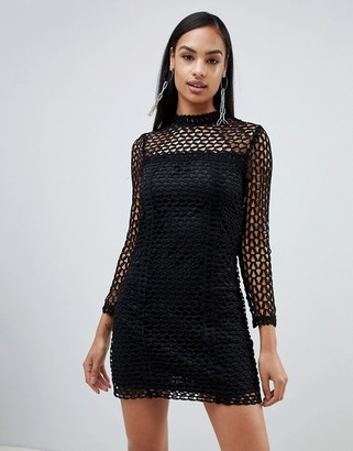 Rare London long sleeve crochet dress