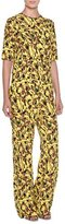 Marni Half-Sleeve Abstract-Print Jumpsuit, Lemon