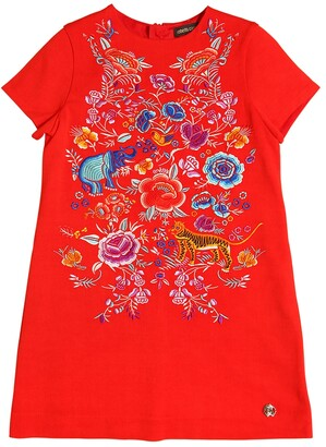 Roberto Cavalli Embroidered Crepe Dress