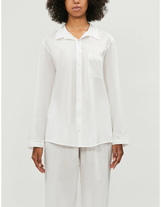Selfridges Lace-detail cotton pyjama shirt