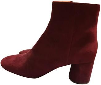 Prada Burgundy Suede Ankle boots