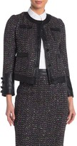 Gracia Faux Leather Trim Sequin Tweed Jacket