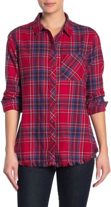 BeachLunchLounge Plaid Flannel Fringe Hem Shirt