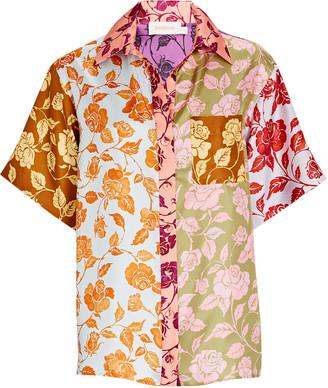 Zimmermann Lovestruck Floral Silk Button-Down Shirt