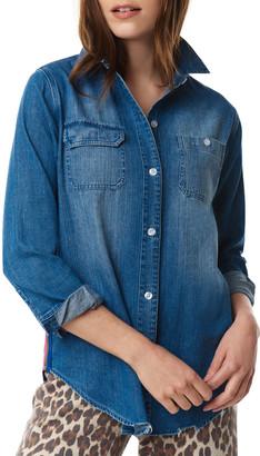 LISA TODD On Track Side-Striped Denim Shirt