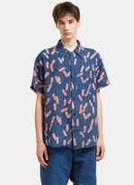 Story Mfg. Men's Shore Print Short Sleeved Shirt In Indigo