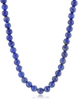 """Amazon Collection Men's Sterling Silver Lapis Lazuli Round Bead Necklace, 22"""""""