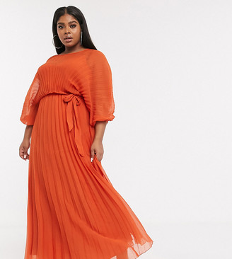 Asos DESIGN Curve blouson pleated maxi dress with self belt