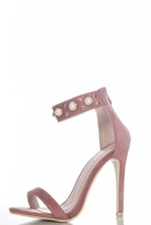 Quiz Pink Faux Suede Pearl Embellished Barely There Heels