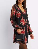 Charlotte Russe Floral Split Sleeve Shift Dress