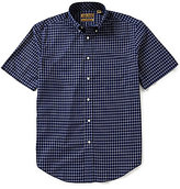 Roundtree & Yorke Gold Label Short-Sleeve Dobby Windowpane Button-down Collar Sportshirt
