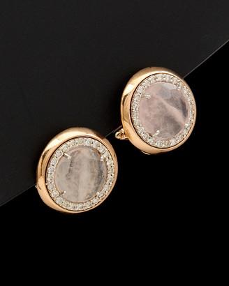 Italian Gold 14K Rose Gold 4.75 Ct. Tw. Diamond & Pink Quartz Clip Earrings