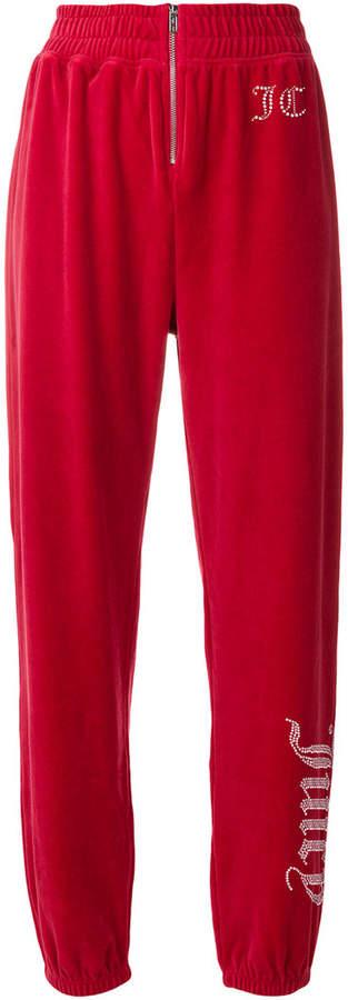 Juicy Couture Swarovski embellished velour track pants