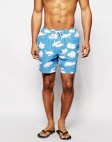 Asos Swim Shorts With Cloud Print In Mid Length