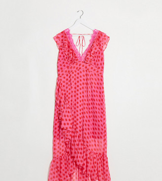 Dark Pink Plus plunge wrap maxi dress in pink red polka dot