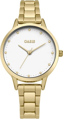 Oasis Women's Quartz Watch with White Dial Analogue Display and Gold Alloy Bracelet SB003GM
