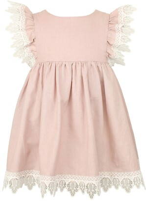 Popatu Flutter Sleeve Lace Trim Dress