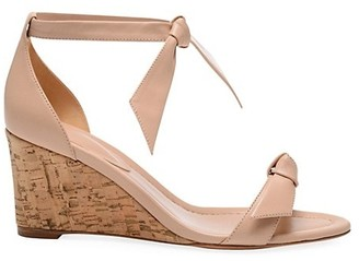 Alexandre Birman Clarita Bow Leather Wedge Sandals