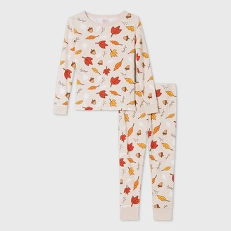 Ev Holiday Toddler Leaf Print Matching Family Pajama Set - Oatmeal