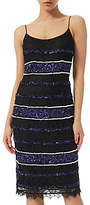 Adrianna Papell Petite Beaded Lace Slip Dress, Black/ Purple