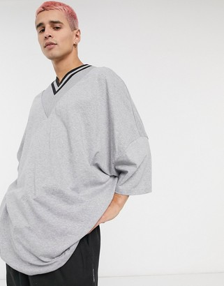 ASOS DESIGN organic extreme oversized super longline t-shirt with deep v tipped neck in gray marl