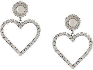 Alessandra Rich Crystal-Embellished Heart Drop Earrings