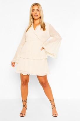 boohoo Plus Dobby Chiffon Wide Sleeve Wrap Dress