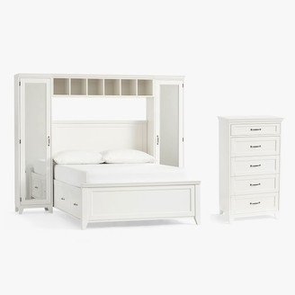 Pottery Barn Teen Hampton Storage Bed with Vanity Towers & 5-Drawer Tall Dresser Set